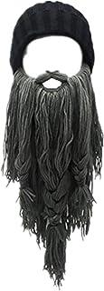 Viking Beard Hat Barbarian Beanie Funny Ski Hat Creative Long Ceard Wool Facemask for Men Kint Caps Cosplay