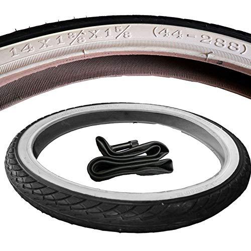 Kinderwagen Reifen Mantel mit breiten weißen Rand + Schlauch 14 x 1 3/8 x 1 5/8 Zoll DIN 44-288