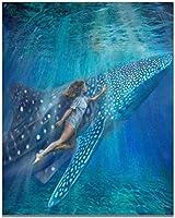 ジグソーパズル 海の女神人魚、ミニ教育玩具、木製DIYテーブルゲーム、1000個、子供、大人、ギフトに適しています