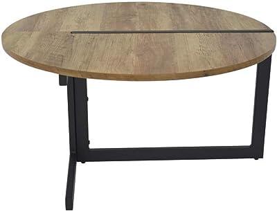 ZONS Table Basse de Salon Design Industriel empiètement Original métal, Bois et Noir,