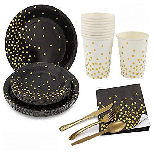 Juego de vajilla desechable de 70 piezas, plato de cuchara tenedor con diseño de lunares dorados, adecuado para fiestas, camping,platos compostables y biodegradables, cubiertos (negro, 10 unidades)