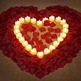 1000 Pieces Artificial Rose Petal with 24 Pieces Romantic Heart LED Candle Flameless Romantic Love LED Tealight Candle for Romantic Night Valentine's Day Anniversary Wedding Table Decor (Yellow)
