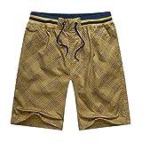 ZNQPLF Cintura Elástica Masculina para Hombre Pantalones Cortos De Tela Escocesa De Algodón Pantalones Cortos De Playa Casual (Color : Yellow 3, Size : 180cm 90kg Size 4XL)