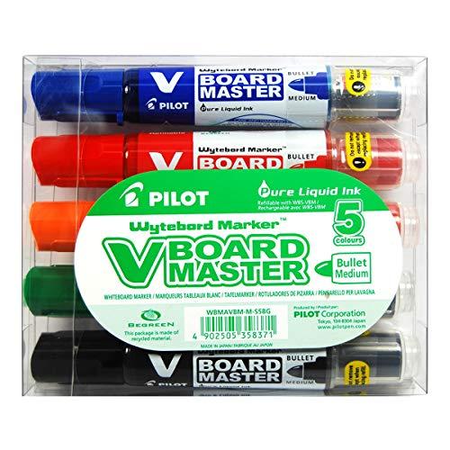 PILOT V-Board Master, Whiteboardmarker mit Rundspitze, 5er Set (Schwarz, Rot, Blau, Grün, Orange)