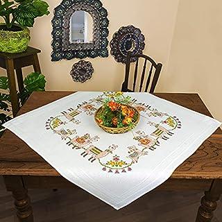 Kamaca Stickpackung Tischdecke LAMA Familie Kreuzstich vorgezeichnet aus Baumwolle zum Selbersticken Mitteldecke 80x80 cm
