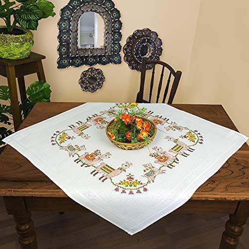 Kamaca Stickpackung Tischdecke LAMA Familie Kreuzstich vorgezeichnet aus Baumwolle zum Selbersticken (Mitteldecke 80x80 cm)