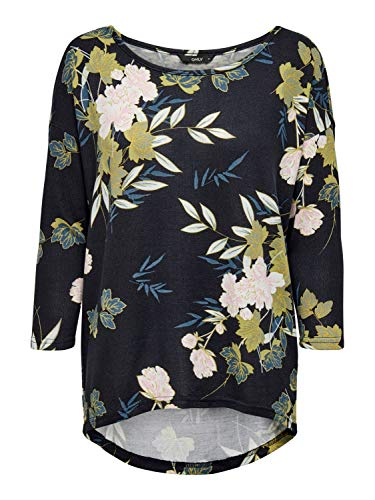 ONLY Damen Rundhals Top Shirt Bluse Muster onlELCOS 4/5 AOP TOP JRS XS S M L XL...