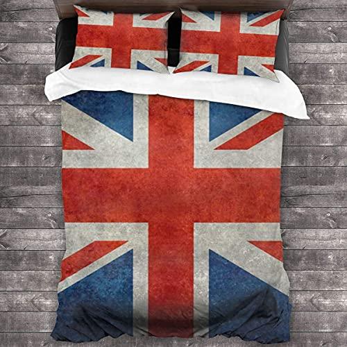 Yearinspace - Set di biancheria da letto decorativo in 3 pezzi, con 2 federe per cuscini, bandiera inglese Union Jack 3 pezzi, copripiumino da 86 'x 70'