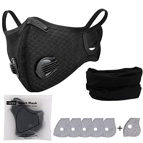 JOYTUTUS Masque anti-poussière, avec 6 filtres sportifs, masque de protection lavable et réutilisable, et cagoule unisexe pour course, cyclisme, activités en plein air