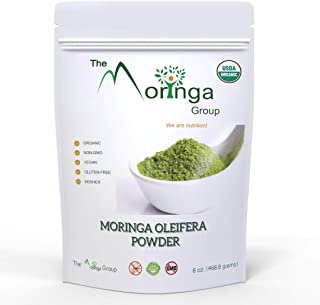 Premium Organic Moringa Oleifera Leaf Powder 100% USDA Certified All-Natural Energy Boost, Raw Superfood and Multi-Vitamin | No GMO, Gluten Free, Vegan | Great in Green Drinks, Smoothies- 8 oz