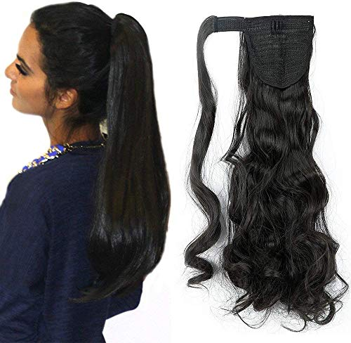 SEGO 60cm Extension Capelli Coda di Cavallo Clip in Hair Sintetici Mossi Ponytail Extension - Nero Naturale