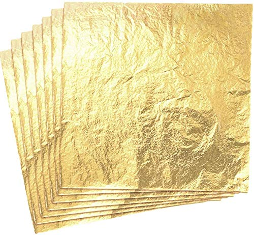 SILITHUS 100 Blatt Nachahmung Blattgold für Kunst, Kunsthandwerk Dekoration, Dekoration DIY, Vergoldung Handwerk, Rahmen, 5,5 x 5,5 Zoll
