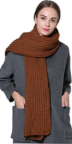 Women Men Winter Thick Cable Knit Wrap Chunky Warm Scarf All Colors Brown Hor
