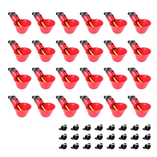 sansheng Pack of 24 Chicken Water Cups,Automatic Poultry Waterers, Quail Pigeon Chicken Watering Cups