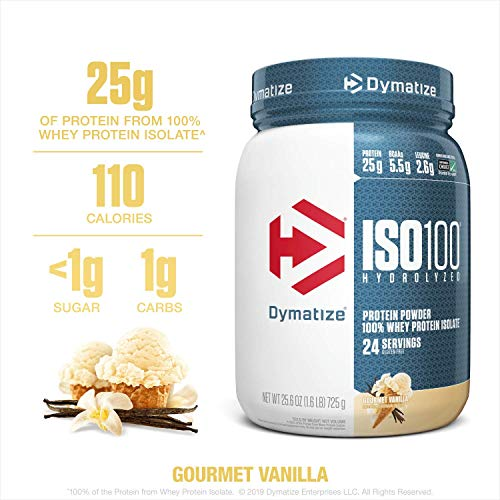 Dymatize ISO100 Hydrolyzed Protein Powder, 100% Whey Isolate Protein, 25g of Protein, 5.5g BCAAs, Gluten Free, Fast Absorbing, Easy Digesting, Gourmet Vanilla, 1.6 Pound