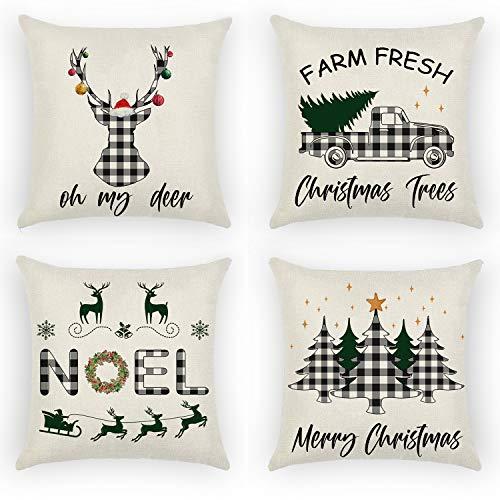 Daohexi Set mit 4 Weihnachts-Kissenbezügen aus Baumwolle, 45,7 x 45,7 cm, Kissenbezüge Weihnachten Schneeflocke Sofa Kissenbezug für Zuhause Weihnachten Leinen Deko (Stil 1)