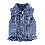 Mud Kingdom Little Girls Denim Vest Ripped Cute Swan Blue Size 7-8