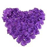 PIXNOR 1000pcs Silk Rose Petals Decorations for Wedding Party (Purple)