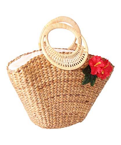 SugarShock Damen Korb Handtasche Jasina Hibiskus Bast, Farbe:natur
