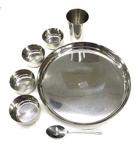 Ensemble de vaisselle 7 pièces Thali, en acier inoxydable épais - plat, cuillère, verre, bol - haute qualité.