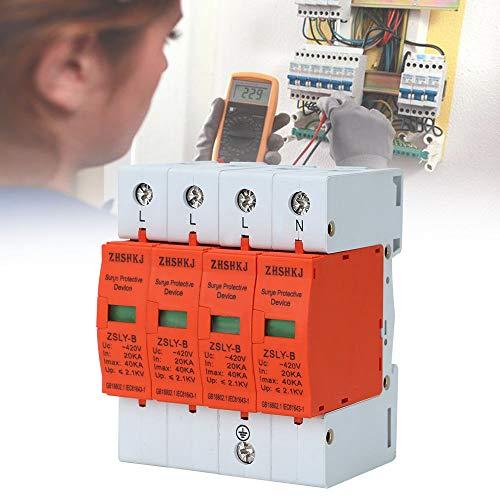 MorNon Überspannungsschutz Blitzschutz 40kA 4-Polig Kombiableiter AC 420V Ableiter für Energietechnik