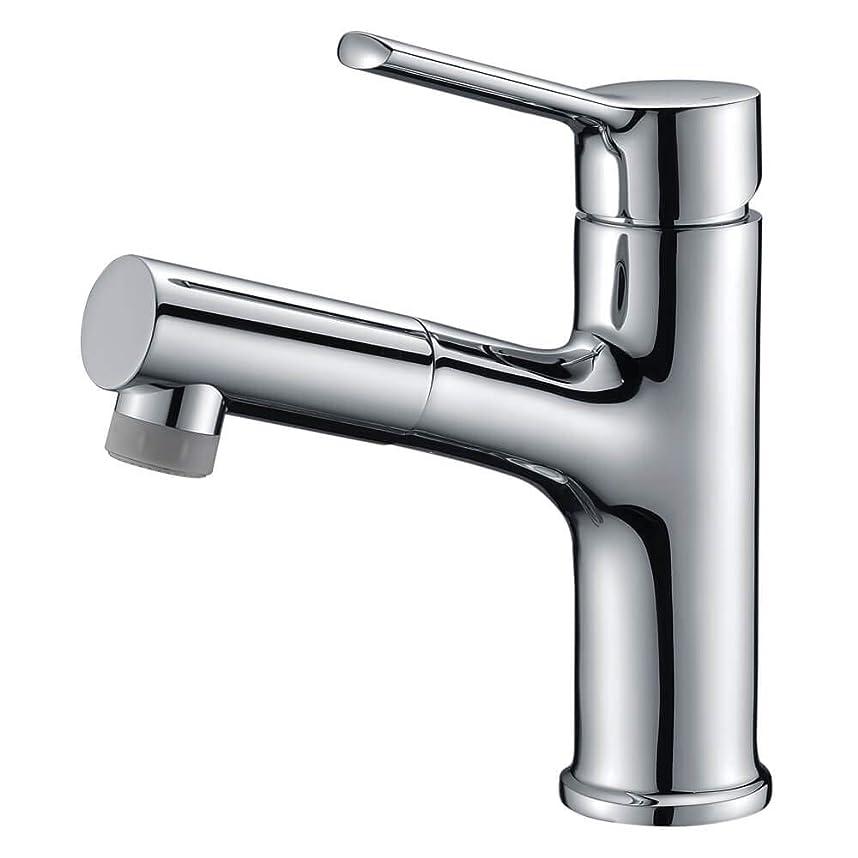一致湿度ソースCREA 洗面蛇口 浴室用水栓 洗面 洗髪用 蛇口 引き出せる 伸縮 360度回転 引出しホース式水栓 シングルレバー混合栓 2wayの吐水式 泡沫水流 シャワー水流