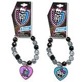 Monster High Set of 2 Beaded Skull Charm Bracelet Includes one of Each Pictured Crystal Beaded Stretch Bracelet