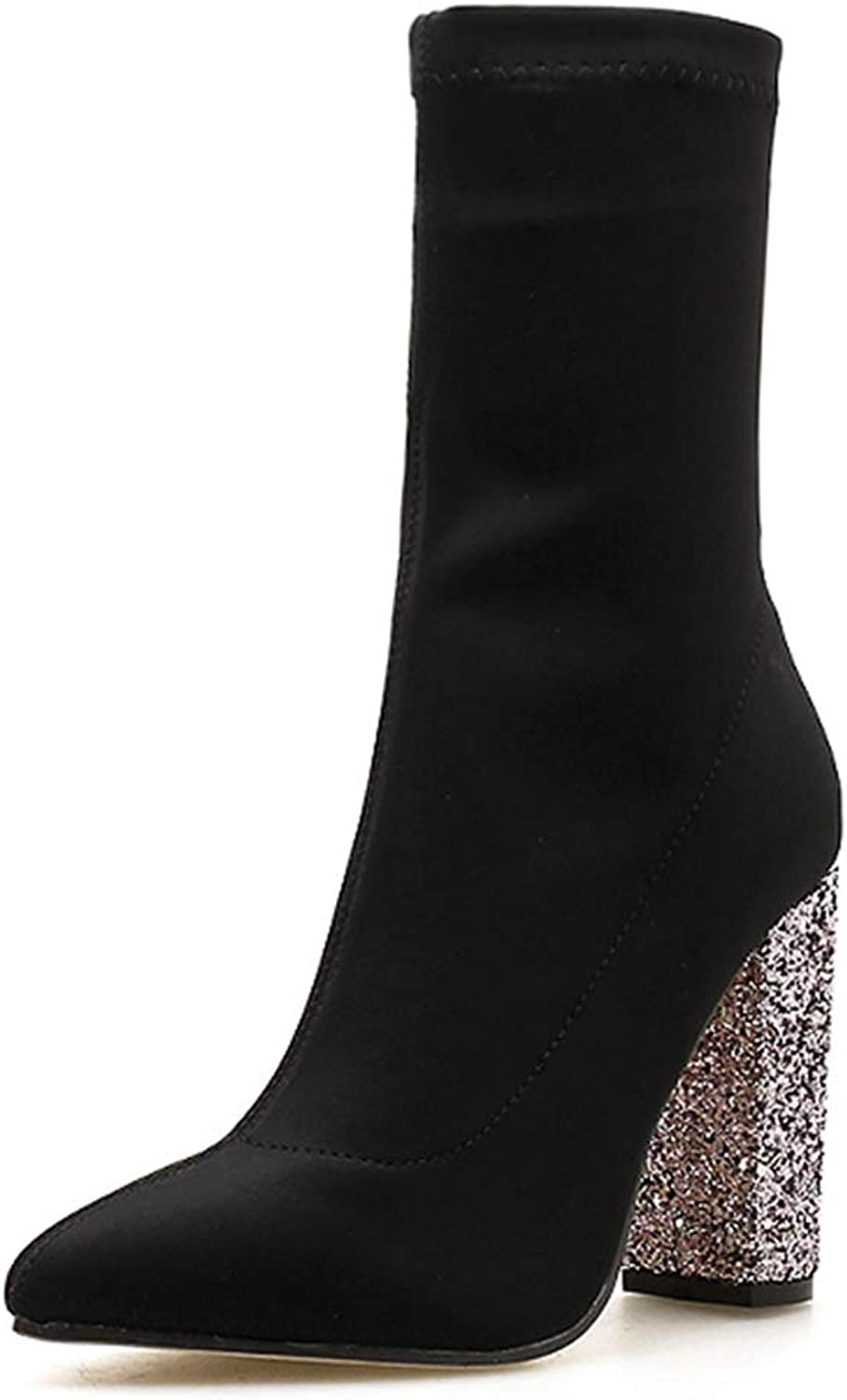 Woman Ankle Boots Round Toe Bling High Chunky Heels Slip On Autumn Winter Stretch Fabric Ladies Sexy Short shoes