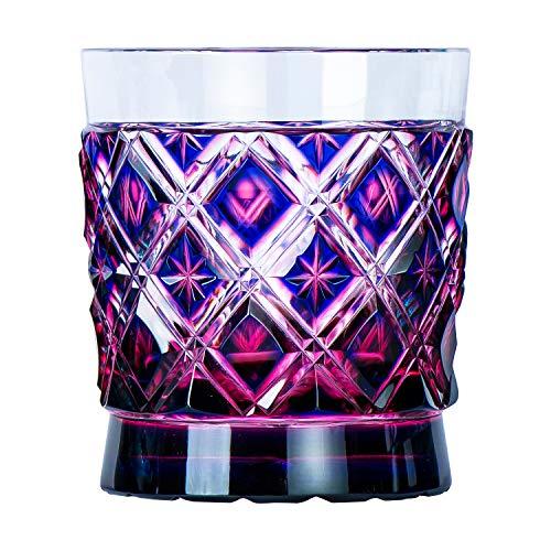 山下工芸(Yamashita kogei) ロックグラス 金赤/瑠璃 φ78×H85mm 薩摩切子 二重被格子 オールド 13049040