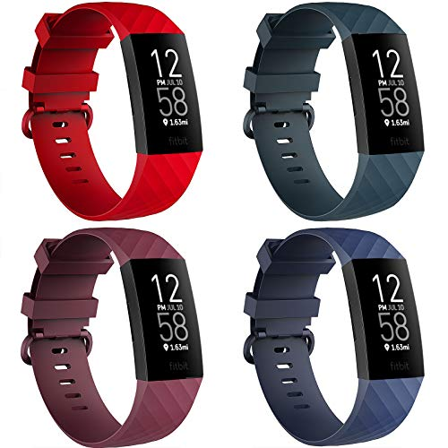 """4 Pack Bands for Fitbit Charge 3/ Fitbit Charge 4/ Charge3 SE, Soft Waterproof Replacement Wristbands for Women Men Small Large (Navy/Red/Sangria/Darkslategray, L: for 7.1""""-8.7"""" Wrist)"""