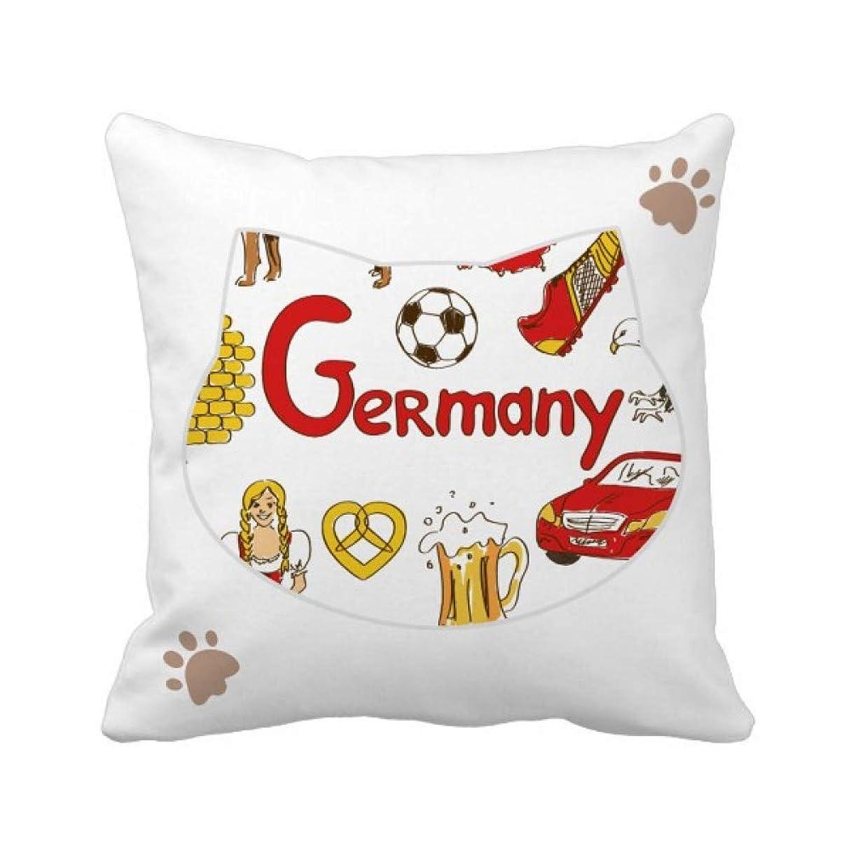 トイレ発言する関係ないドイツの風景の動物の国旗 枕カバーを放り投げる猫広場 50cm x 50cm