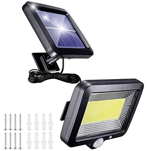 Solarlampen für AußEn mit Bewegungsmelder, 56 Led Solarleuchten für AußEn mit 5m Kabel, 3 Modi 120° Superhelle Solar Lampe Outdoor IP65 Wasserdichte Led Aussenleuchte Led Solar Strahler