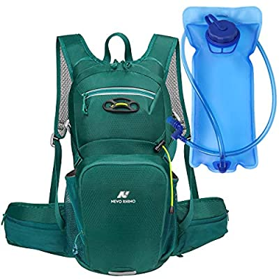 N NEVO RHINO Hydration Pack, Insulated,2 Waist Bags,2L Water Bladder BPA Free Leakproof, for Cycling/Hiking/Backpacking/Climbing/Biking/Camping/Raves (Green with 2 Lite EVA Bladder)