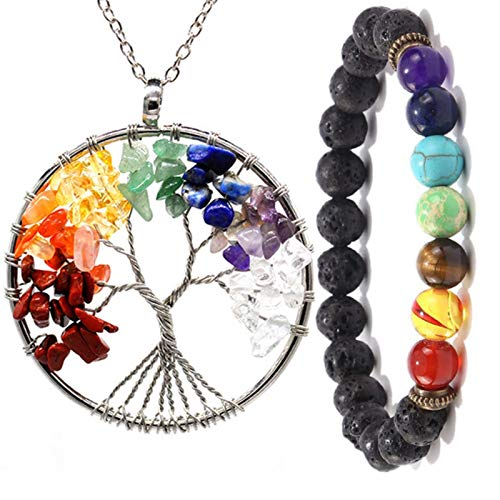 7 Chakra Natural/rainbow Stone Tree Of Life Pendant Necklace Bracelet For Women Men Long Chain Statement Suit Jewelry Gift
