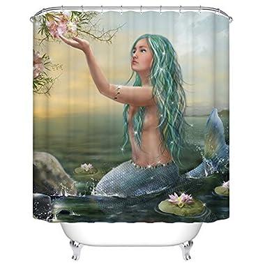 Goodbath Mermaid Lotus Shower Curtains,Mildew Free Water Repellent, 100% Polyester, (72 x 72 Inch)