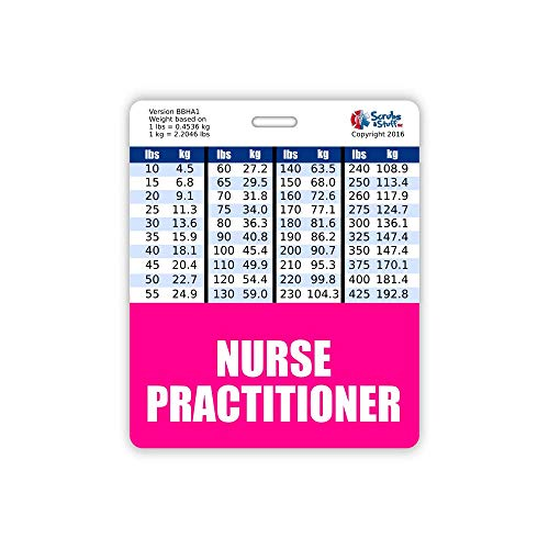 Nurse Practitioner Badge Buddy Horizontal w/Height & Weight Conversion Charts (Oversized, Pink)