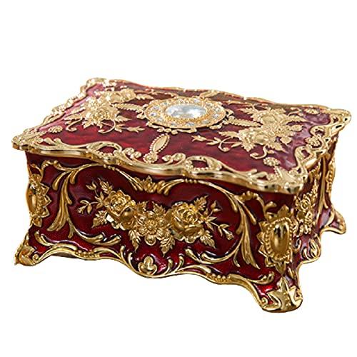 qianduo Joyero vintage de aleación rectangular, caja decorativa regalo para mujeres, caja de joyería vintage