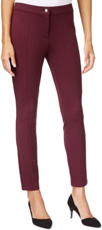 Maison Jules SeamDetail Ponte Pants, Wine, Size 0