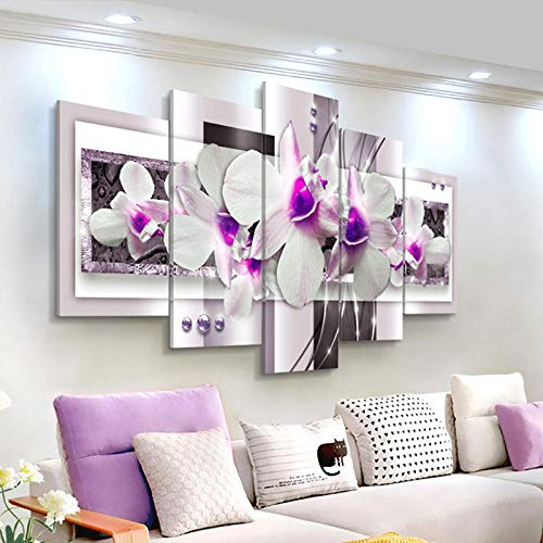 Cuadro en lienzo de arte de pared moderno 5 piezas por juego Carteles de flores de orquídeas Cuadro de pared abstracto para decoración de sala de estar + Cuadro de lienzo de arte de pared moderno