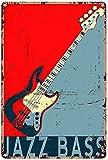 Hucuery Artwork Jazz Bajo Guitarra Eléctrica Instrumento Musical Fender Jazz Bajo Guitarra Metal Signo Decoración Estaño Arte de la pared Cartel de Metal 8x12 pulgadas