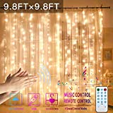 GYTF Curtain Lights with Sound Activated, USB Powered 300 LED Fairy Christmas Lights with Remote,Sync-to-Music Setting & 8 Mode Hanging Light for Bedroom Wedding Decorations (Warm)