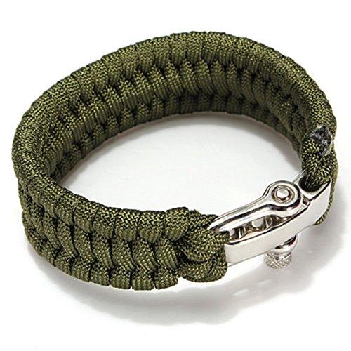 Careforyou® Verstellbares Armband aus Paracord, mit D-Ring, aus Edelstahl, für den Außenbereich, für den Notfall, Selbstverteidigung, Werkzeug, HW01, 07 Army Green, 4 mm