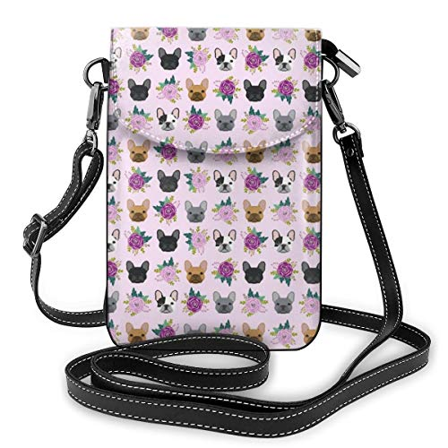 NiYoung Women Girls Crossbody Bag Cell Phone Purse Wallet Roomy Travel Crossbody Handbags Mini Messenger Shoulder Bag Wallet with Credit Card Slots - French Bulldog Frenchie Florals Pink