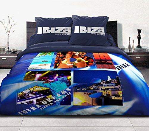 Home Passion 54195 Parures de couette 3 Pièces 57 Fils Place Coton Ibiza Bleu 220 x 240 cm