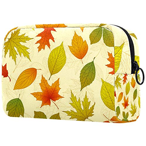Bolsa de brochas de maquillaje personalizable, portátil, bolsa de aseo para mujer, organizador de viaje, diseño de hojas de otoño