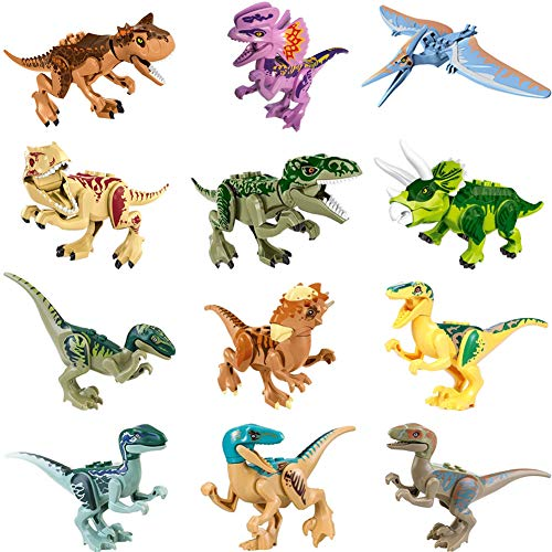 LTCtoy 12pcs Dinos Toy,Buildable Dinosaur Building Blocks Figures with Movable Jaws,Including T Rex, Velociraptor,Triceratops, etc