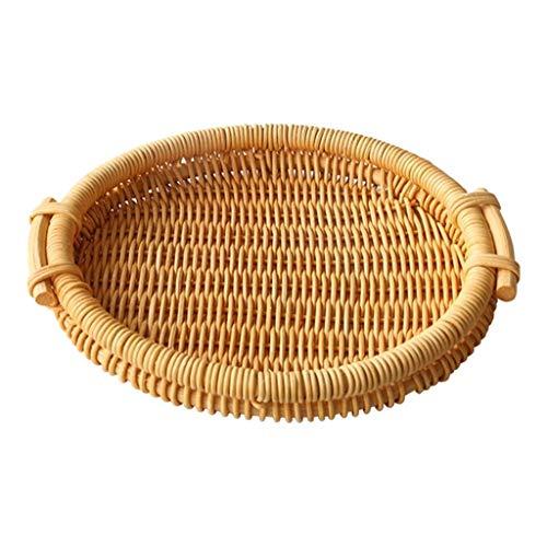 Wusuowei, vassoio rotondo e rettangolare per frutta in vimini, vassoio in rattan intrecciato a mano e vassoio decorativo portaposate