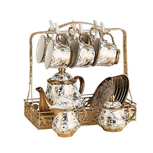 Tea Set Prachtig European Style Ceramic Tea Cup set inclusief 6 stuks Tea Cup en lepel met 1 Theepot metalen houder for huis en kantoor kop en schotel Sets coffee pot