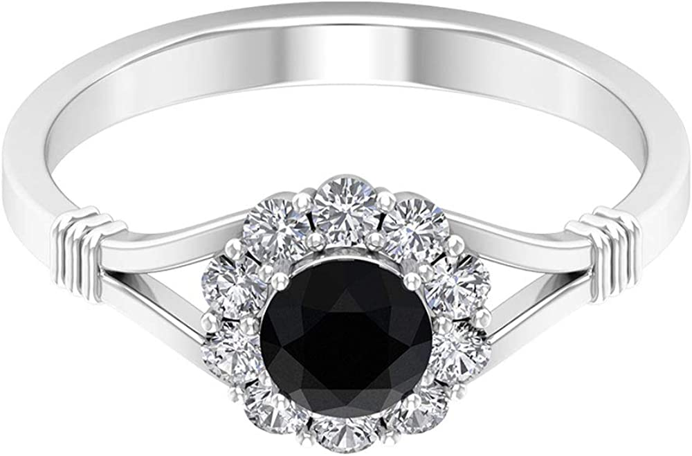 0.6 Ct Solitaire Black Spinel Ring, Diamond Halo Wedding Ring, Vintage Engagement Ring, Gemstone Statement Ring, Cocktail Anniversary Ring, 14K Gold