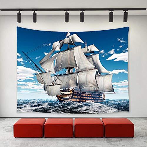 LDHHZ Barco de Batalla oce¨¢Nico Barco de Vela Barco Buque de Guerra Acorazado Crucero Ola de mar Tapiz de Pared 200x150cm